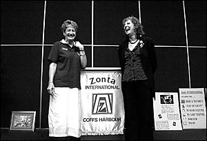 Zonta Coffs Harbour president Jenny Murchie and guest speaker Cath McKimm share a laugh at Zonta?s International Women?s Day br