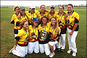 THE CHAMPIONS: The South Grafton High School cricket team celebrates its win in The Daily Examiner Shield. Photo: ADAM HOURIGA