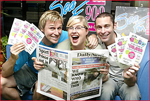 SEAFM radio personality Paul Gale (left) with cohorts Moyra Macgregor and Tim Lordan join the fun of Daily News Bingo.
