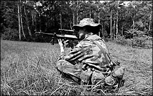 Soldiering on... a member of Charlie Company 41 RNSWR takes aim during Exercise Ballistic Pig in the Orara Valley.