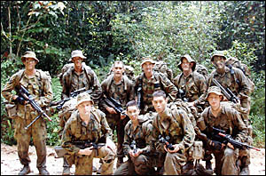Private Andrew Harrington, Private Matthew Madden and Private Lee Cheetham, all from Grafton, with the boys of the 41st Battali