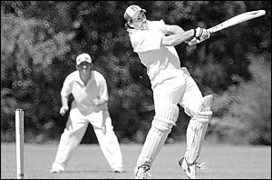 United?s Michael Essex takes to the Wanderers? attack during the Lower Clarence cricket final on Saturday.