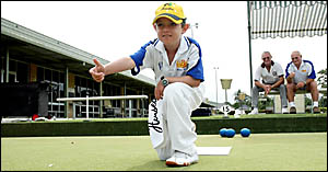 Ben Watson . . . the youngest bowler ever to be sponsored by well-known lawn bowls manufacturer Henselite.