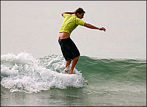 Mullaway?s Rory Hugginson gets some nose action at Noosa.