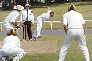 Bellingen-Dorrigo?s Adam Hudson on the hunt for wickets against PBBC Colts.