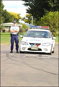 Grafton Highway Patrol Constable Rob Goodwin at Corcoran Park, Grafton, where Operation Corcoran Park, to reduce anti-social be