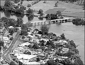 An aerial view of Maclean?s 100-year-old McFarlane Bridge.