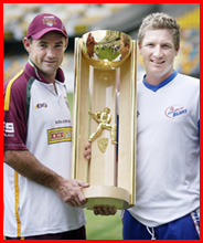 Jimmy Maher (left) and  Brad Haddin hold the Pura Cup. Image: TONY PHILLIPS - AAP IMAGE