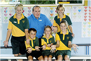 St Joseph?s Murwillumbah principal Paul McDermott and students Fletcher Budd (back left), Bronte Anthony (back right), (front