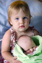 Joeli Goodger (20 months) and baby brother Kurtis Maldon.
