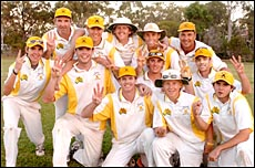The victorious The Glen A Grade cricket team with captain David Jefferis (third from left) after the grand final win yesterday.