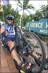 Handcyclist Andreass Dagalet stops over in Maclean during his circumnavigation of Australia.