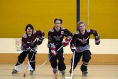 Inline hockey players (from left) Amy Melksham, Shaun Russell and Vinnie Kemp.