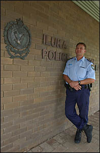 Iluka?s new police officer Trent Lobb at the station.