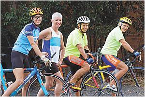 In training for the Australian Ironman triathlon at Port Macquarie on Sunday, from left, Terese Kunaeva, Jenni Williams, Anne G