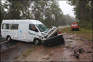 A BYRON Bay woman died in this accident after she lost control of her white Holden Commodore on a sweeping bend and collided he