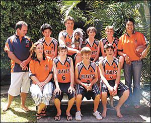 Members of the under-16 boys Bellingen Braves basketball team.