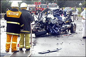THE mangled wreckage of a 4WD in which two Mt St Patrick College students died on their way to school yesterday morning.