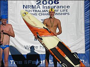 Under-17 board race winner Jacob Lollback on the dais