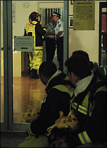 Police and fire officers at the Grafton Juvenile