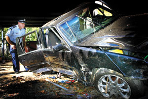 This car left the road and crashed into the side of a house in Cannonvale last week.