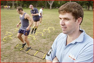 Geoff McDonald puts some of his players through their paces. Image: NEV MADSEN