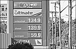Petrol prices in Coffs Harbour had soared to 134.9c yesterday.