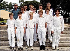 Members of the triumphant Nana Glen under-13 premiership-winning cricket team.