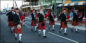 One of the many bands to compete and march during the Maclean Highland Gathering last year. It is estimated the gathering will