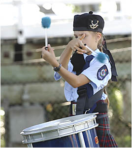 Alena McLeish, from Brisbane, plays the drums yes- terday.