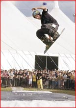 Michael Bateman gets some air while snowboarding at the Australian Gospel Music Festival. Image: Nev Madsen