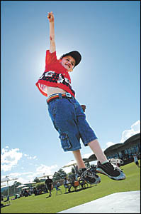 With weather like the Coffs Coast enjoyed over the weekend, who could blame Liam Wade for jumping in the air with joy?