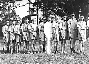 PIONEERS: Earliest picture of the Grafton 1946 men?s hockey representative team, taken at Fisher Park, from right, Ken Prince,