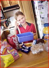 Mikaela Truskinger faces a junk food dilemma over what to pack for lunch. Image: Bev Lacey