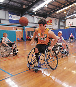 Bill Latham on the charge at Sportz Central yesterday. Photo: TREVOR VEALE 06042732A