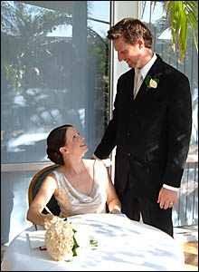 FLASHBACK: Brendan and Mandy Greaney on their wedding day, just a week before the loss of Mandy?s engagement ring at Main Beach