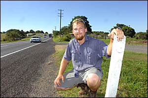 INCIDENTAL HERO: Aaron Bidwell near the stretch of highway where he found the Yamba woman. Photo: NORTHERN STAR.