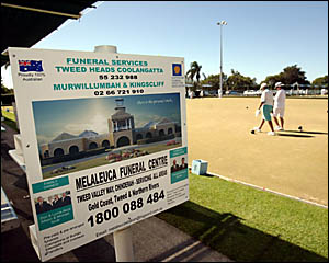 A SIGN advertising the new Melaleuca Station crematorium takes pride of place at South Tweed Sports.D997813 PETER CATON