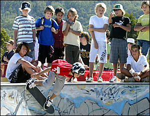 CABARITA Skatepark was a hive of activity yesterday as local kids and professional skaters went through their paces.