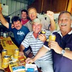 Having a drink for their mate John Webb are Ross Hall, Warren Hall, Phil Sawyer, Jim Milner and Lindsay Evans