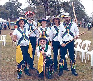 The Grafton Fiddle Stix morris dancers, from left, Sea Welham, Paul Coleman, Annie Heckrath, Helen Borowski, Pete Magins and Ge