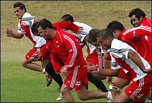 LEADING OUT: Danny Wicks jumps out in front during sprint training with the St George Illawarra first grade squad during yeste