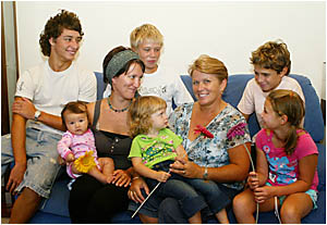 LYN Davison with (at back) Blake, Cohen and Zac and (front) granddaughter Malia, Megan, Phoebe and Danielle.