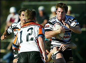 Tweed Heads Seagulls backrower Jeff Moat carts the ball into the Tigers defence during yesterday?s Queensland Cup clash.