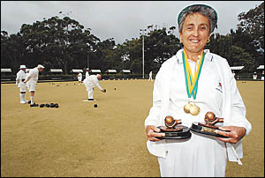 Nambucca Heads bowler, Debbie Waddell with her two trophies from the national titles. Photo: BRENDAN RAY 06051932A