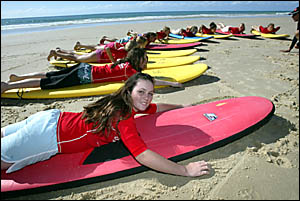 Lakeside Christian College student Jazna Kent, 14, and her classmates chose surfing for their school sport, even though it?s ne