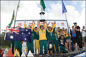 The Australian junior team victorious after reclaiming the world ISA teams title, head coach Sasha Stocker (on left) and assist