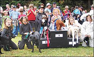 The Mongrel Dog Owner/Dog Look-alike winner was Charlotte Bedford with Rosie Purple Flower.