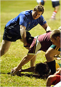 FORCEFULPRESENCE: Former Grafton Redman and Western Force player AJ Whalley (left) trains with the Grafton team during the week