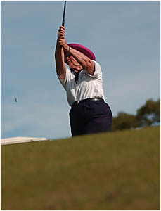 TOATEE:Jean Dahl tees off during yesterday?s play.Photos: SIMONHUGHES